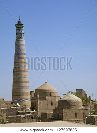Minaret of Islam Khodja - Islam Xoja - in Khiva, Uzbekistan