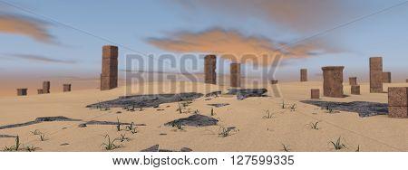 3d illustration of desert landscape panorama