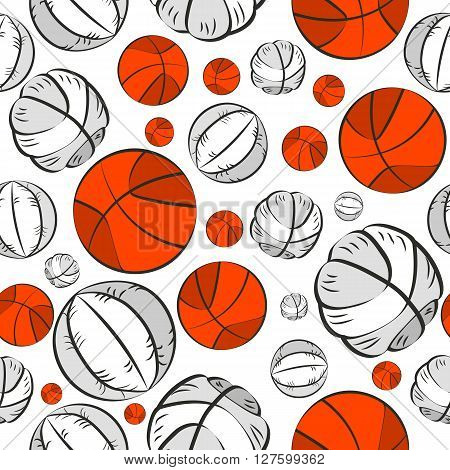 Colorful Sport Seamless Pattern With Mixed Basketball Balls Random Colors