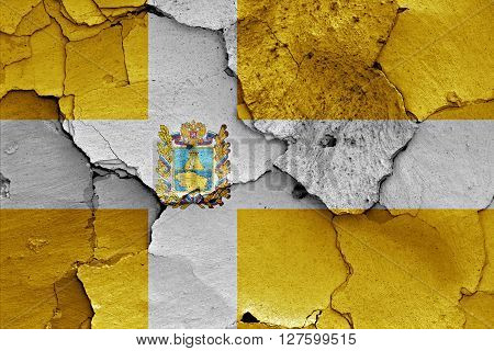 Flag Of Stavropol Krai Painted On Cracked Wall