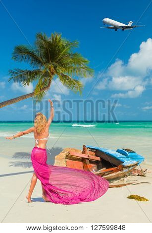 Beautiful woman on the beach. Thailand Travel concept