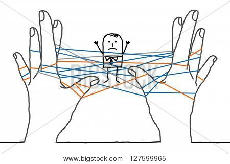 big hands and cartoon businessman - confused network