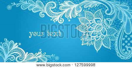 Winter. Lace background with a place for text. Blue and white lace vector design.