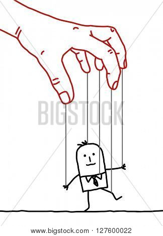 big hand and cartoon businessman - puppet