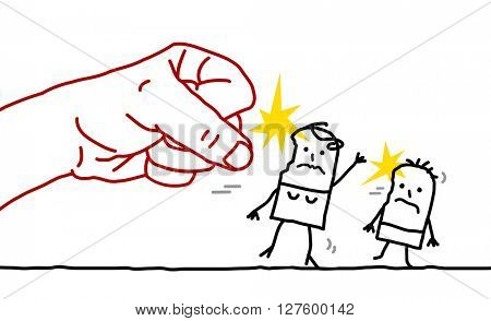 big hand and cartoon woman and child - aggression