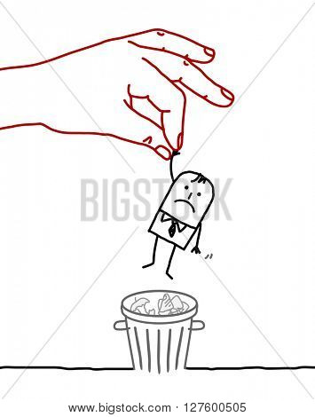 big hand and cartoon businessman - trash can