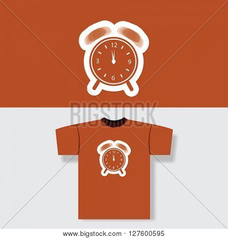 T-shirt Print Design Concept With Clock Pattern