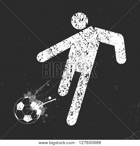 White Soccer player with ball vector icon in grunge style on black background
