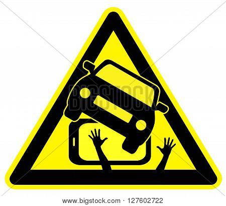 Cell Phone causing Car Crash. Concept sign to pay attention that using smartphone in traffic is dangerous
