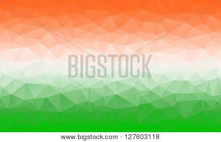 Colorful abstract geometric background with triangular polygons. Low poly background in India national colors saffron white and green