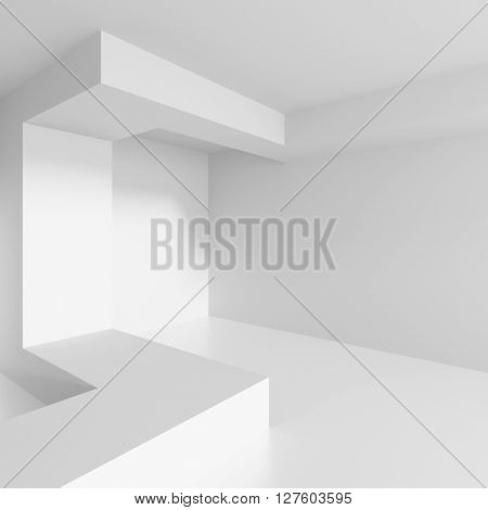Abstract Architecture Background. White Interior Design, 3d Illustration of Building Construction