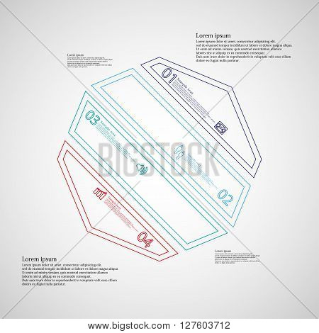Octagon infographic illustration template askew divided to four color parts. Each part contain text number and sign and is created by double outline contour.