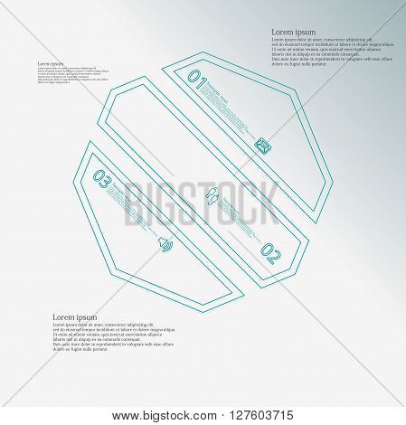 Octagon infographic illustration template askew divided to three blue parts. Each part contain text number and sign and is created by double outline contour.