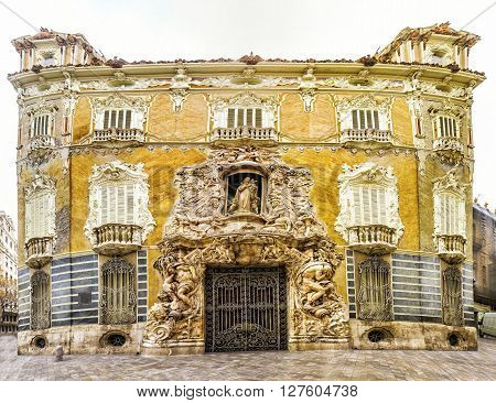 Palace Marques De Dos Aguas  Facade In Alabaster In Valencia, Spain.