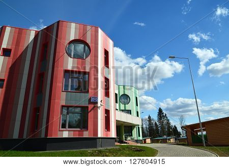 Moscow, Russia-April 24.2016. Multicolored kindergarten in a Zelenograd Administrative District