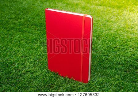 Notebook on spring green grass