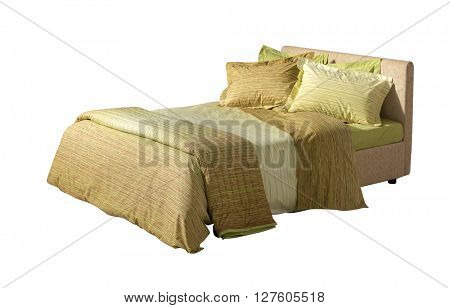 double bed isolated on white with yellow and green pattern covers