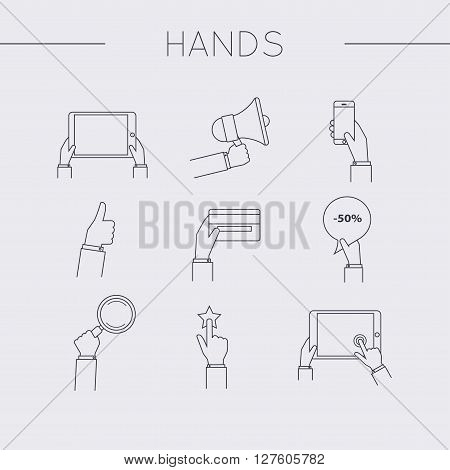 Flat design of hand line icons set. Concept of hand in many characters: presenting showing using tablet and smart phone thumb up and down holds magnifying glass and credit card.Vector illustration