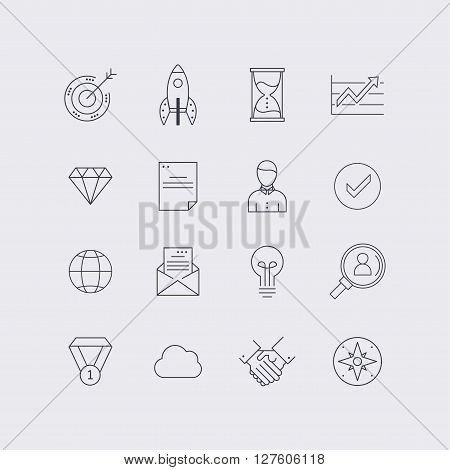 Line icons set in flat design. Elements of business startup time management team work and globalization. Modern infographic linear vector illustration.