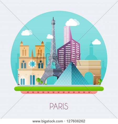 Paris.  Skyline And Vector Landscape Of Buildings And  Famous Landmarks. Vector Illustration.