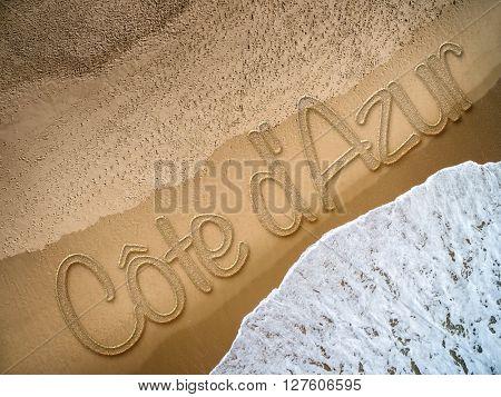 Cote dAzur written on the beach