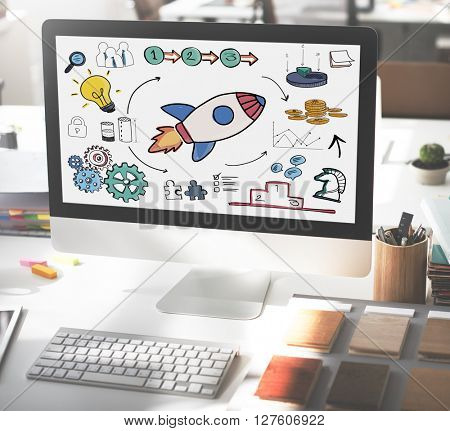 Start Up Business Launch Rocket Graphic Concept