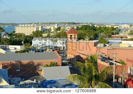 KEY WEST, FL, USA - DEC 20: Aerial view of Key West Old Town on Front Street and the Wachovia Center Building on Dec 20, 2012 in Key West, Florida, USA.