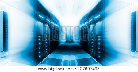 server room with modern communication and server equipment