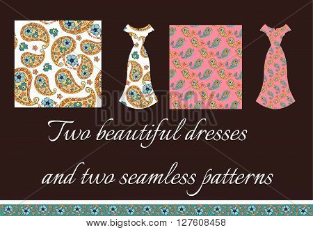 Beautiful card with two summer female dresses. Seamless patterns with paisley ornament and cute paisley birds. Fashion design. Vector illustration.