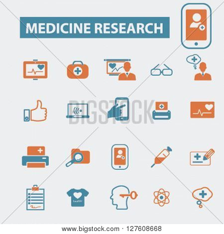 medicine research icons