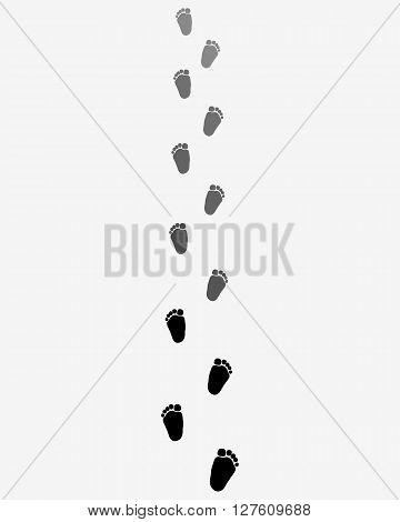 Footsteps of baby on a gray background, vector