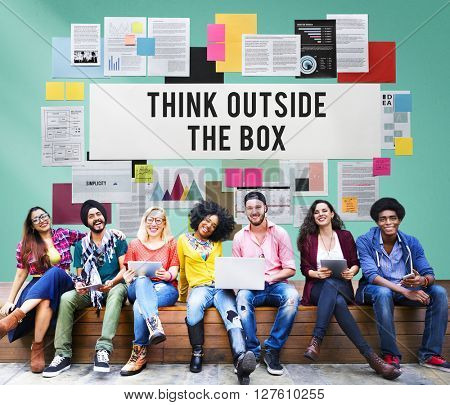 Think Outside The Box Creativity Ideas Imagine Concept