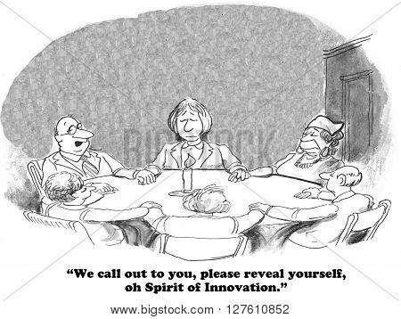 Business cartoon about going to great lengths to try to achieve innovation.