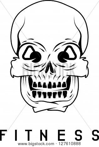 Skull With Kettlebells In Eyes Fitness Concept