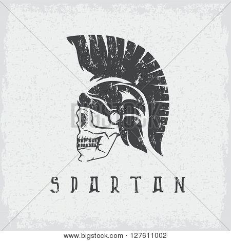 Old Vintage Antiques Skull Spartan Warrior Grunge Vector Design Template