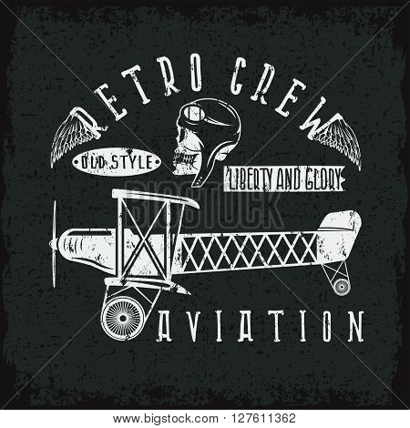Retro Aviation Grunge Vector Design With Skull,airplane And Wings