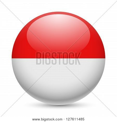 Flag of Indonesia as round glossy icon. Button with Indonesian flag