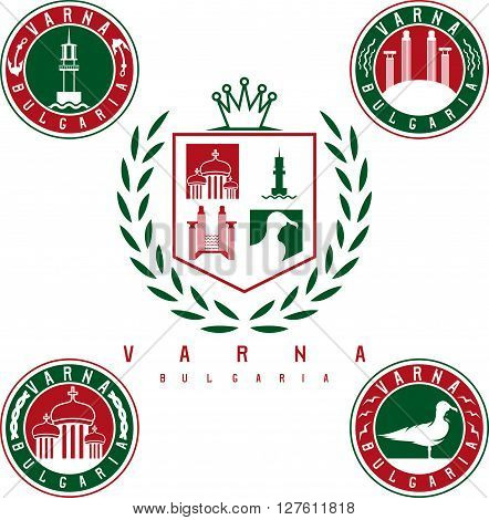 Coat Of Arms And Emblems With Landmarks Of The City Varna Bulgaria