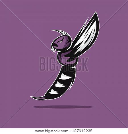 Aggressive Bee Or Wasp Mascot Vector Design Template