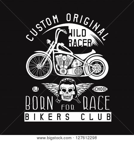 Wild Racer Vintage Print With Motorcycle, Wings And Skull