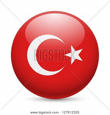 Flag of Turkey as round glossy icon. Button with Turkish flag