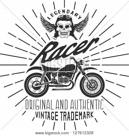 Racer Vintage Print With Motorcycle, Wings And Skull
