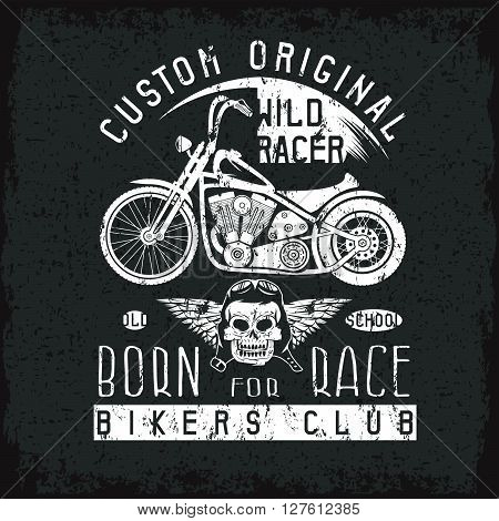 Wild Racer Grunge Vintage Print With Motorcycle, Wings And Skull