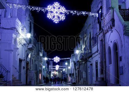 Cisternino in winter during Christmas holyday nigght