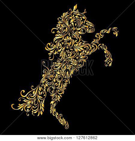 Floral gold pattern of vines in the shape of a horse on a black background