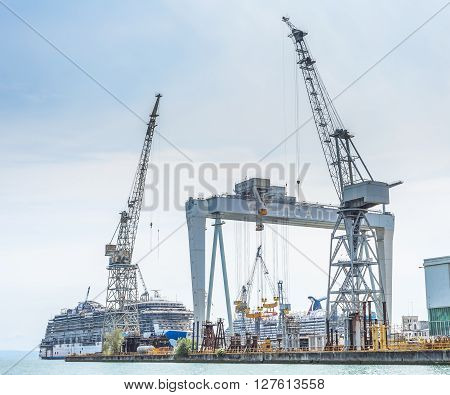 MonfalconeTriesteItaly - April 22 2016 Shipyard of Fincantieri working to build a new ship for Carnival Corporation . The name will be Princess Cruise.