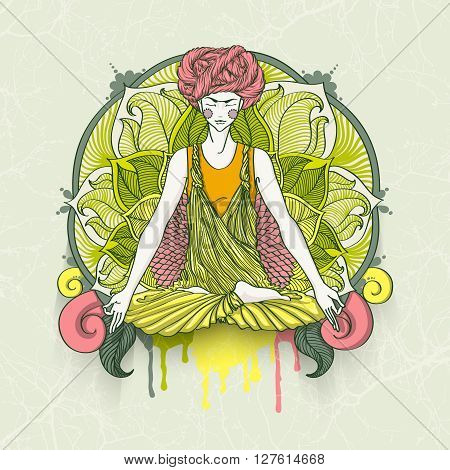 Beautiful girl with turban sitting in Lotus pose with ornate mandala on background. Vector illustration card for yoga and mindfulness consent.
