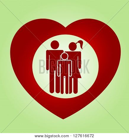 Abstract heart family vector symbol. Insurance concept illustration