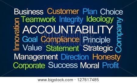 Accountability Word Cloud on Dark Blue Background