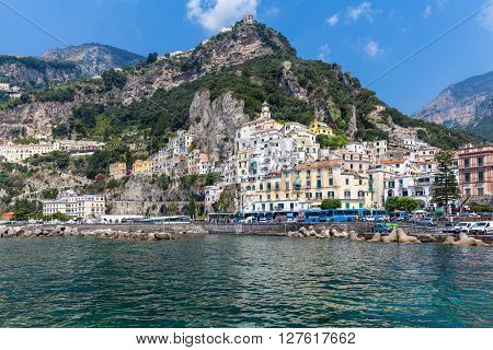 View of famous town Amalfi in Italy on the coast of mediterranean sea